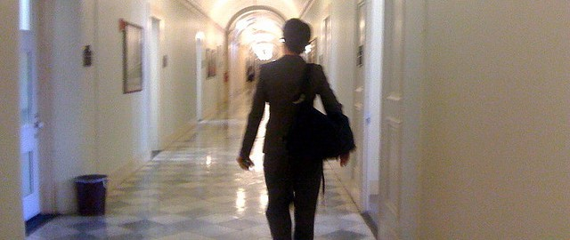 Walking in the halls of the Treasury by Rachel Maddow licensed Creative Commons